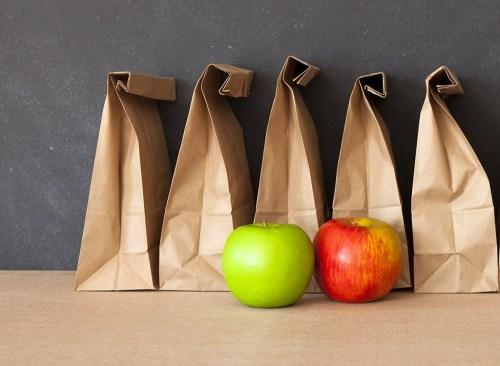Brown bag green apple red apple