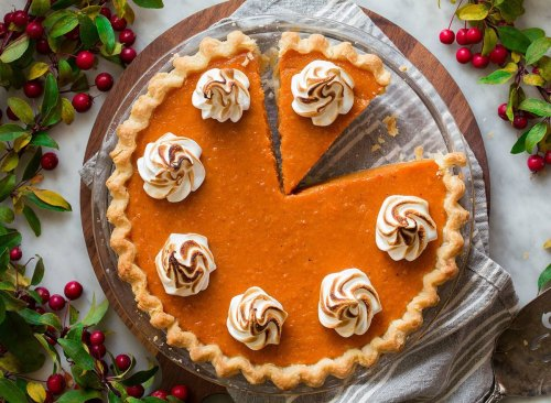 whole sweet potato pie with toasted marshmallow topping