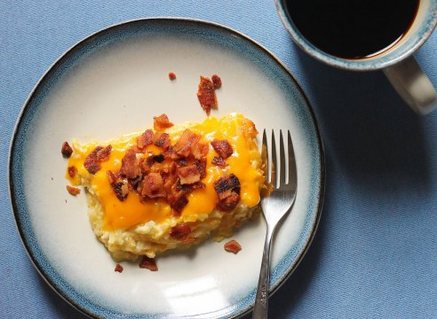 Slice of loaded hashbrown casserole copycat from Cracker Barrel