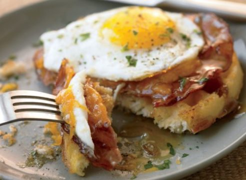 Healthy waffles with ham and egg
