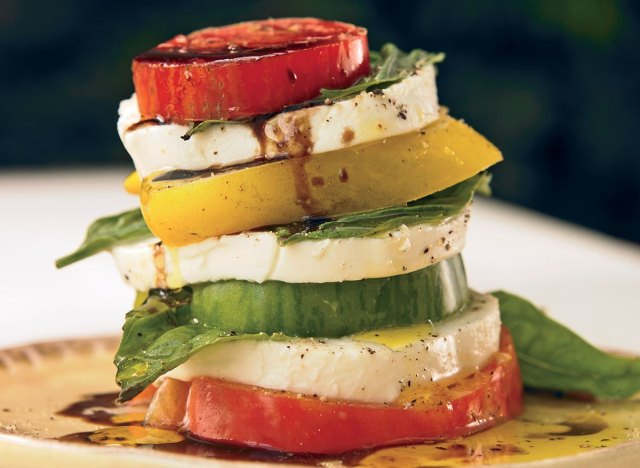Vegetarian caprese tomato towers