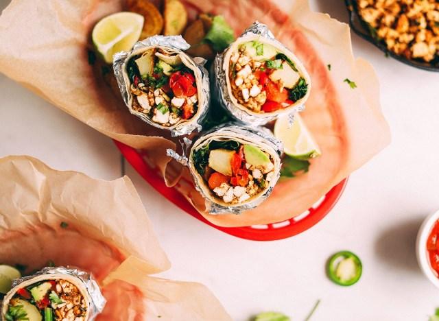 vegan breakfast burritos with tofu and vegetables