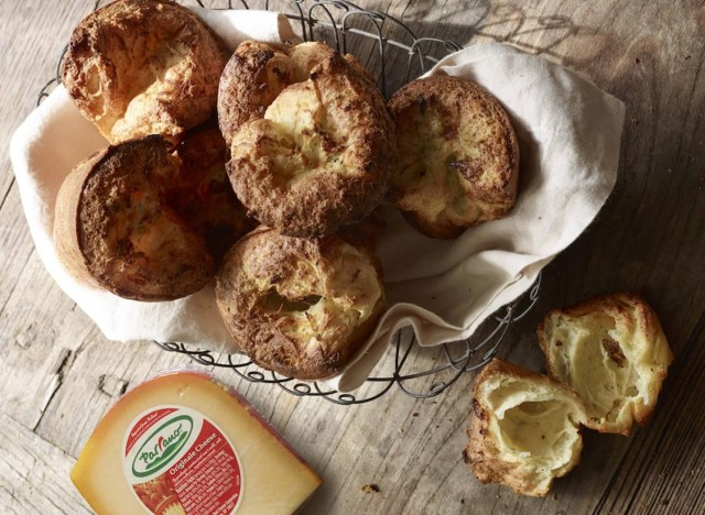 basket of herb and cheese popovers