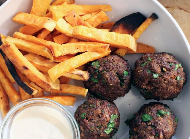 Whole30 Spicy Meatballs with sweet potato fries