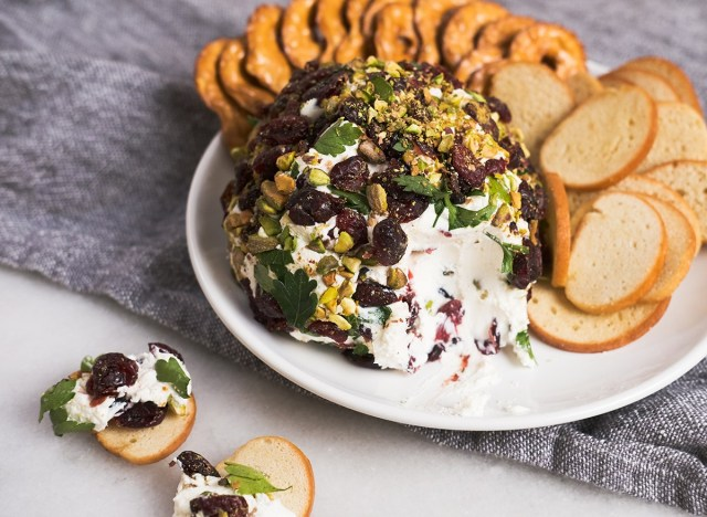 bagel chips with pistachio cranberry cheese spread