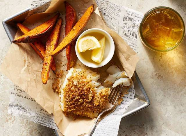 crispy cod with sweet potato fries in a basket