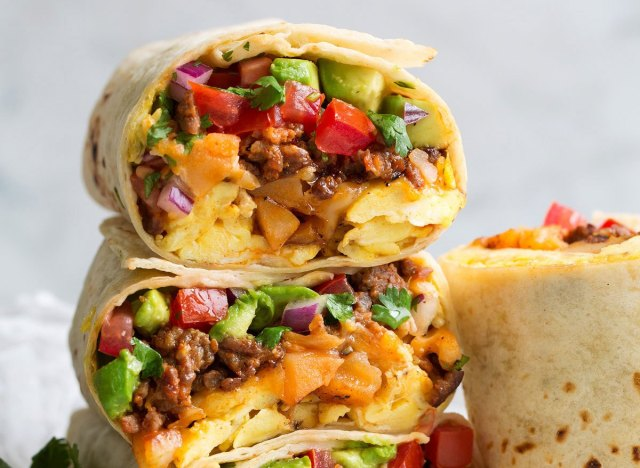 breakfast burritos in tortilla