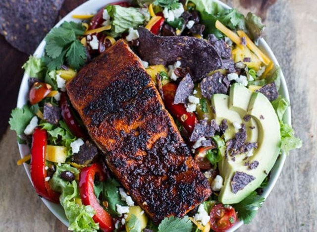 chile lime salmon fajita salad recipe