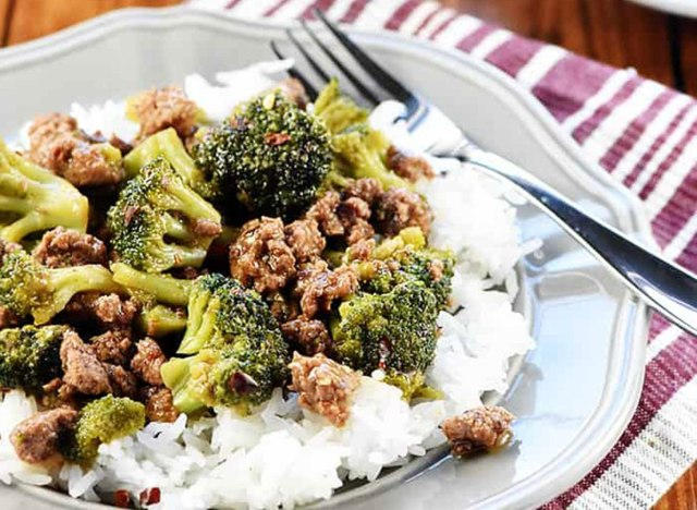 beef and broccoli served with white rice five heart home recipe
