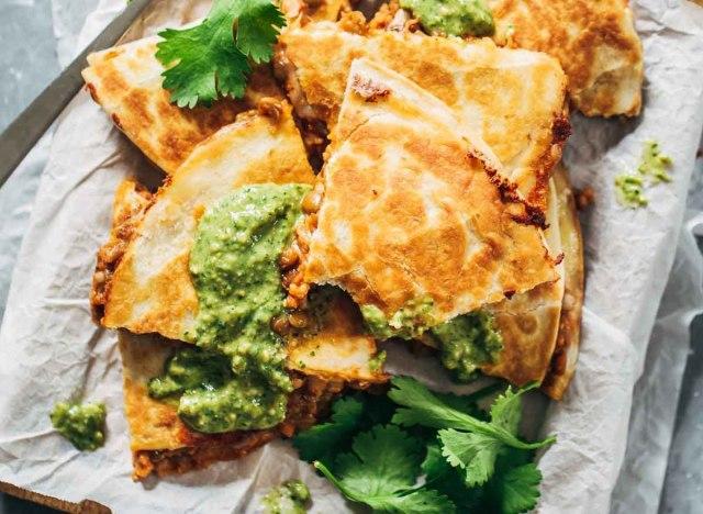 Lentil quesadillas recipe from Pinch of Yum