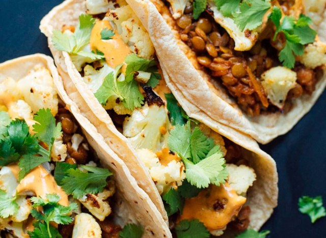 Roasted Cauliflower Lentil Tacos recipe from Cookie and Kate