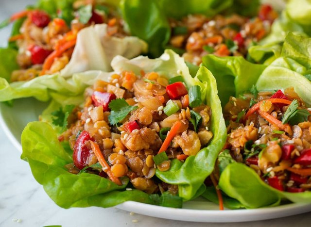 Asian Lentil Lettuce Wraps recipe from Cooking Classy