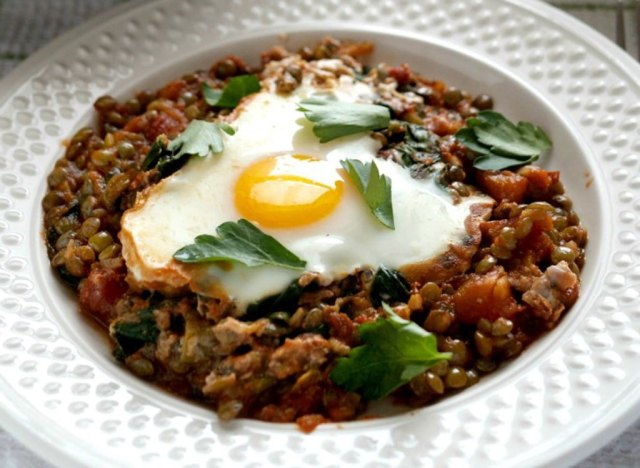Baked Eggs In Tomatoes With Lentils And Whipped Goat Cheese