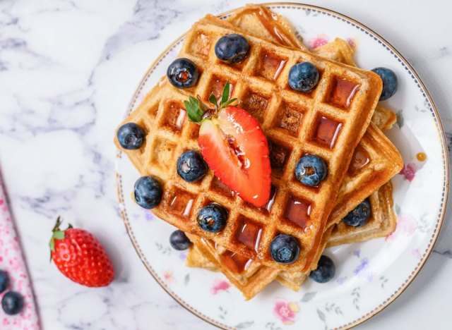whole wheat waffles with berries