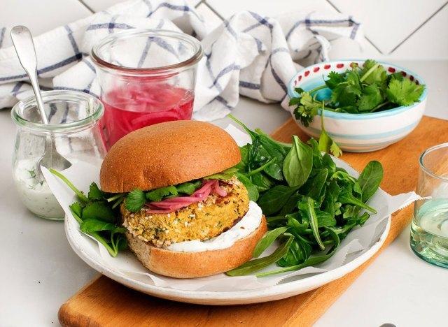 falafel burger with salad and juice