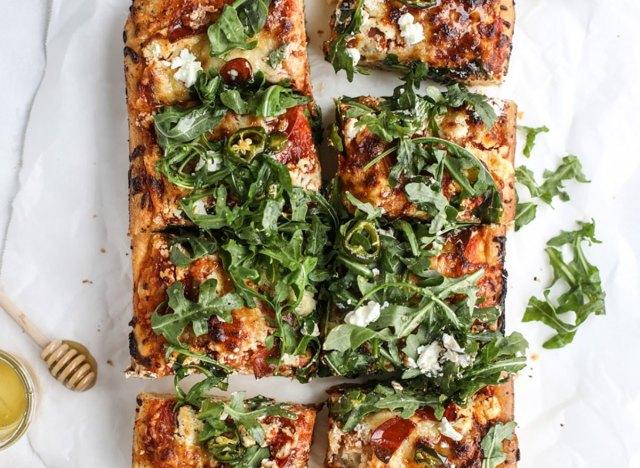 hot honey goat cheese pepperoni detroit style pizza