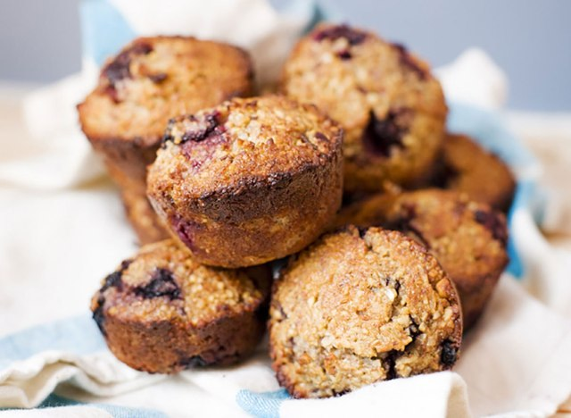 group of blackberry and blueberry muffins