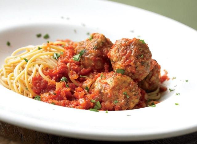 Healthy spaghetti and meatballs