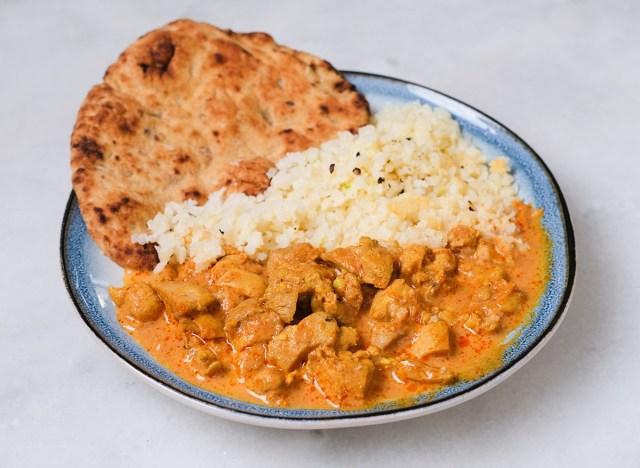 chicken tikka masala with naan bread
