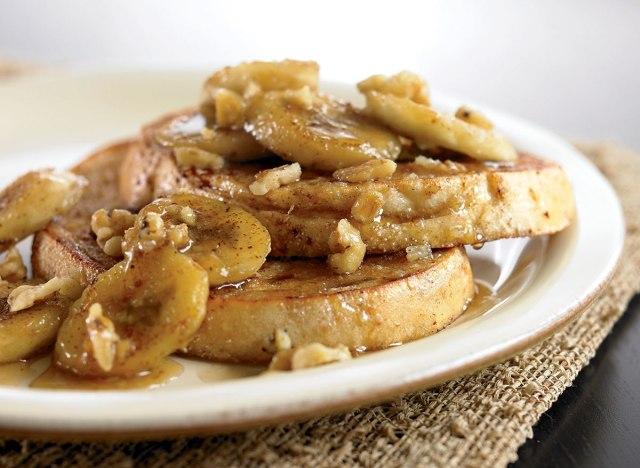 Vegetarian french toast with vanilla bourbon caramelized bananas