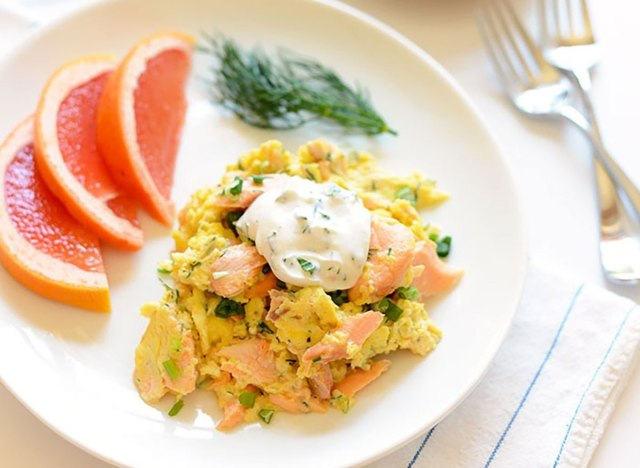 Salmon and egg scramble recipe from Fit Foodie Finds