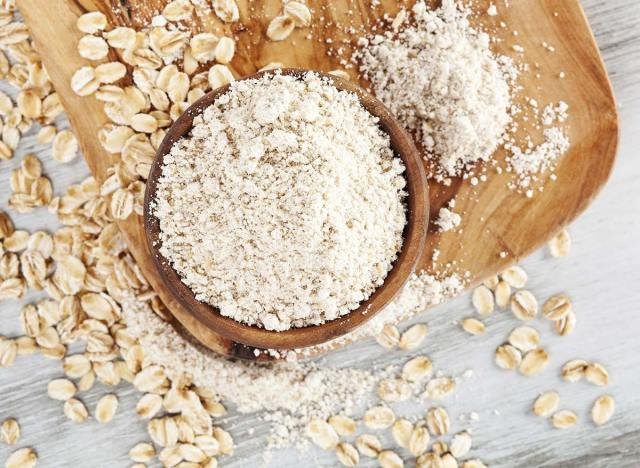 oat flour finished on a cutting board with oats