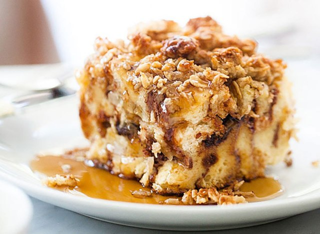 Banana and chocolate chip baked french toast recipe from Foodie Crush