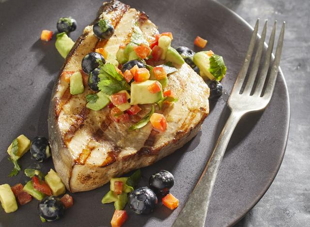 seared ginger cumin swordfish with blueberry avocado salsa