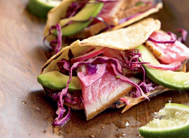 Paleo seared tuna tacos