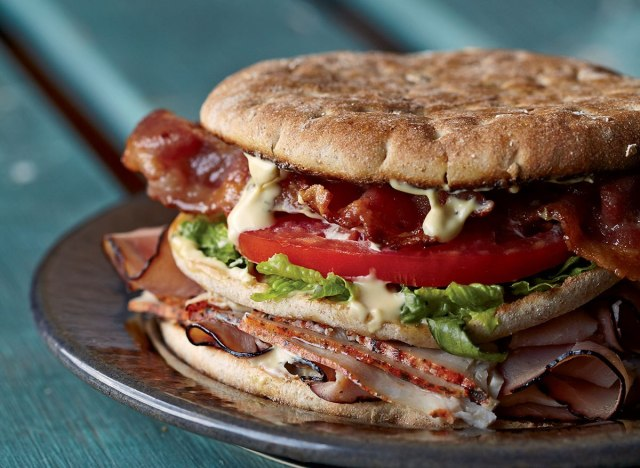 Healthy ultimate club sandwich with super mayo
