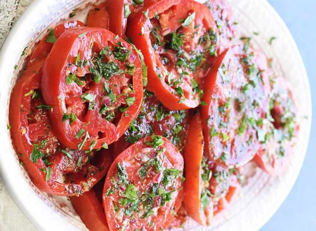 marinated sliced tomatoes