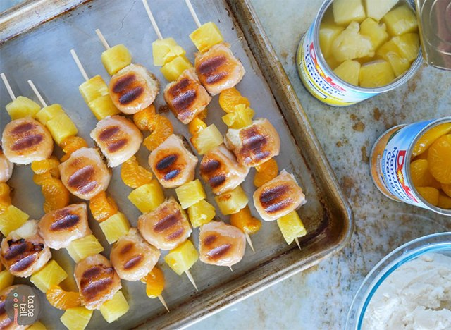 kabobs with donut pieces and canned pineapple