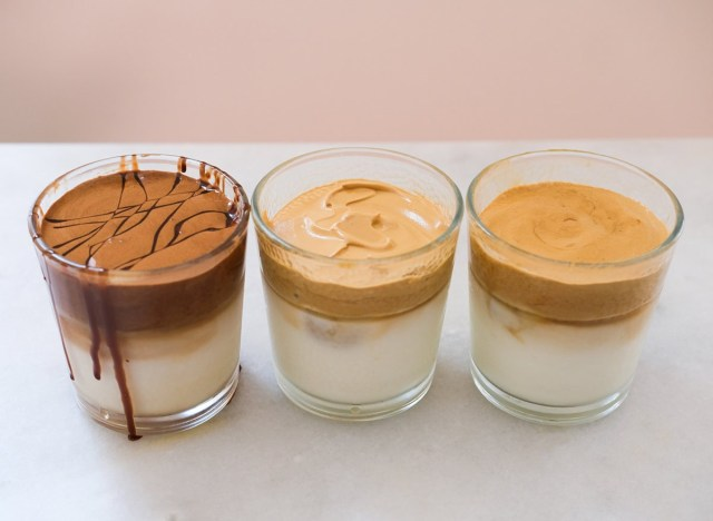 whipped coffee with three different flavors