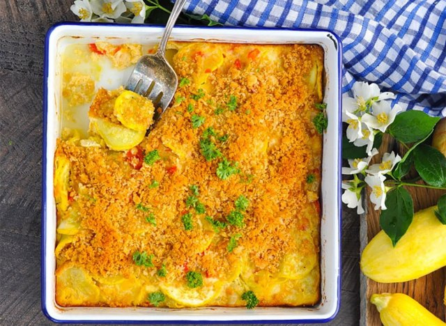 squash casserole in baking dish
