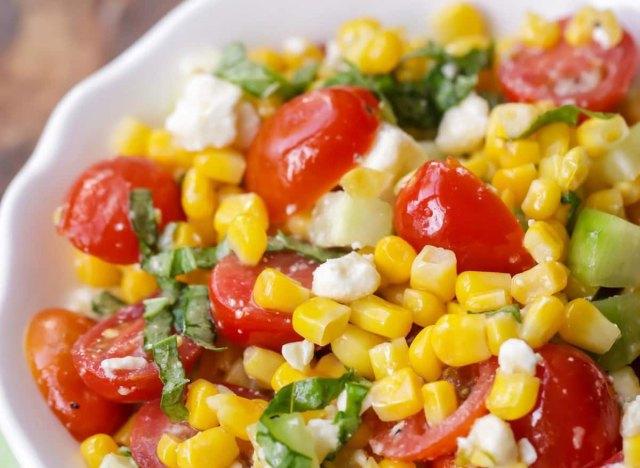 summer corn salad in bowl