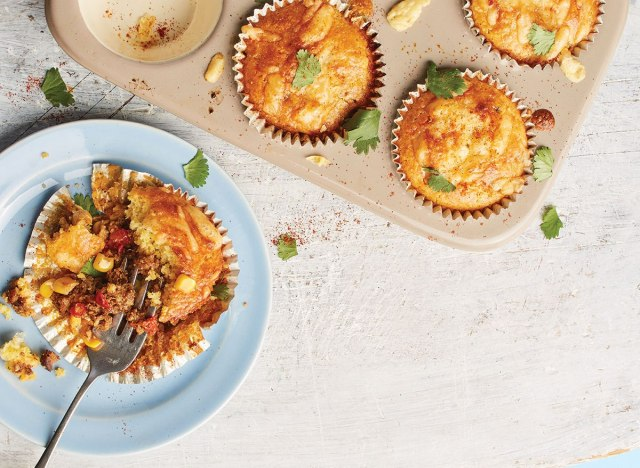 teeny tiny tamale pies in muffin tin and on plate