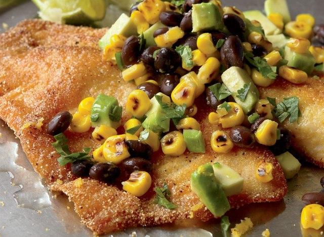 Healthy cornmeal catfish with corn salsa