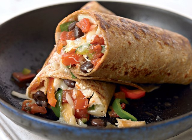 Healthy chicken fajita burrito