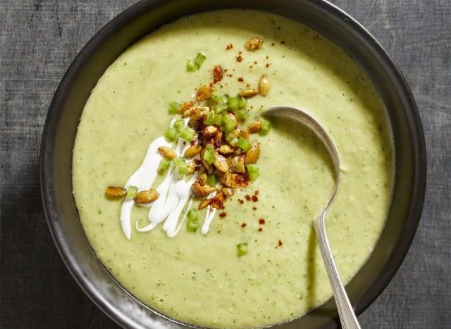keto avocado soup in bowl with spoon