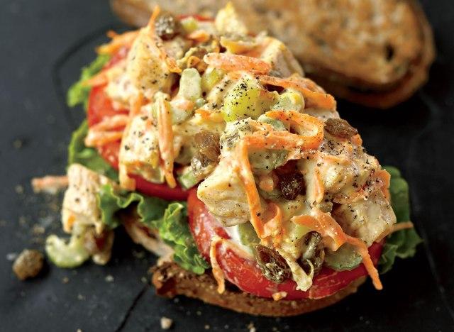 Chicken salad sandwich with curry and raisins