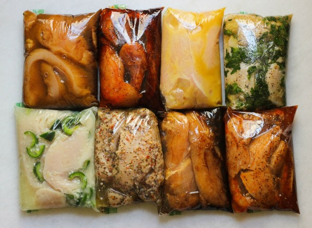 8 chicken marinade ideas in plastic bags.