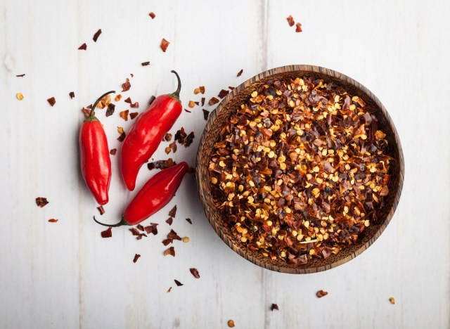 Crushed red pepper flakes chili