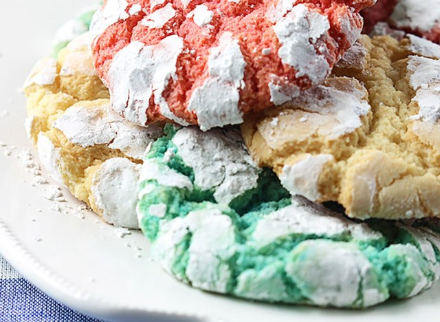 red white and blue crinkle cookies on white plate