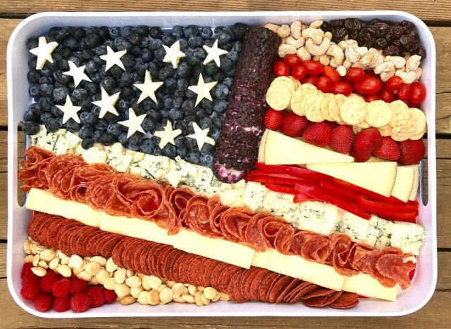 cheese and meat tray in american flag shape