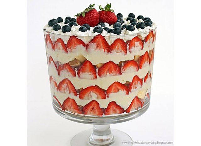 red white and blue trifle with strawberries blueberries pound cake