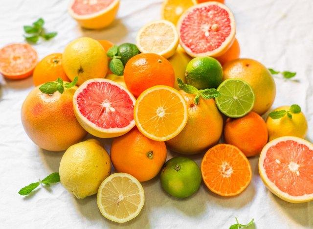 Citrus fruits orange lime lemon grapefruit