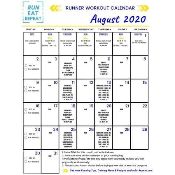 @RunEatRepeat Running Workout Calendar August 2020 (2)