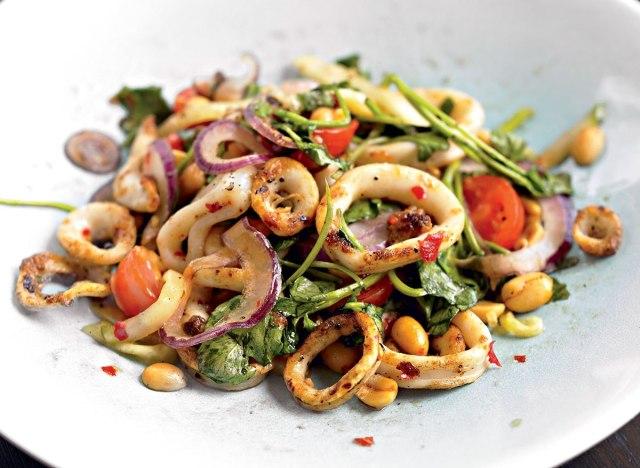 Healthy grilled calamari salad