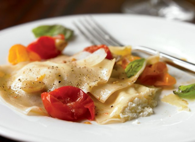 Vegetarian 3 cheese ravioli with cherry tomatoes
