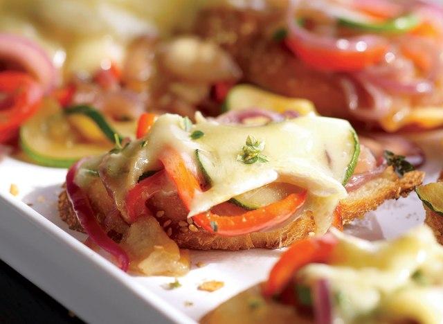 Vegetarian melted brie vegetables
